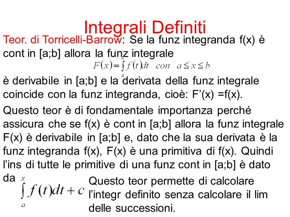 Integrali Definiti Teor. di Torricelli-Barrow: Se la funz integranda f(x) è. cont in [a;b] allora la funz integrale.